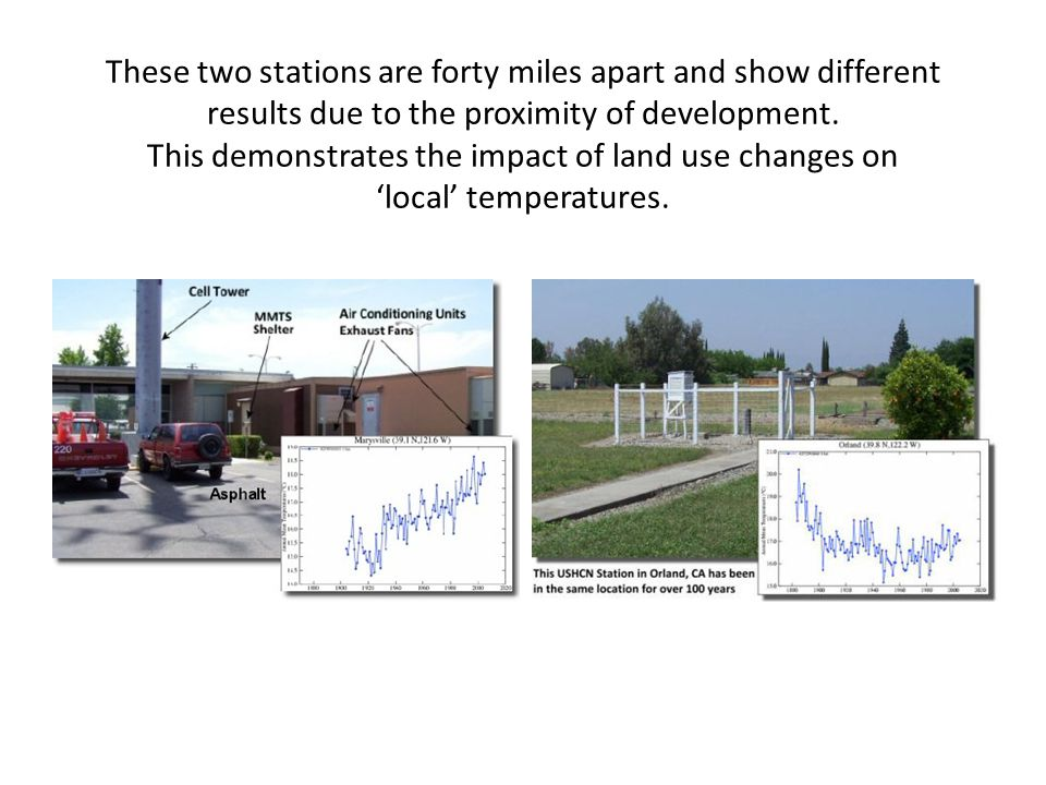 These two stations are forty miles apart and show different results due to the proximity of development.