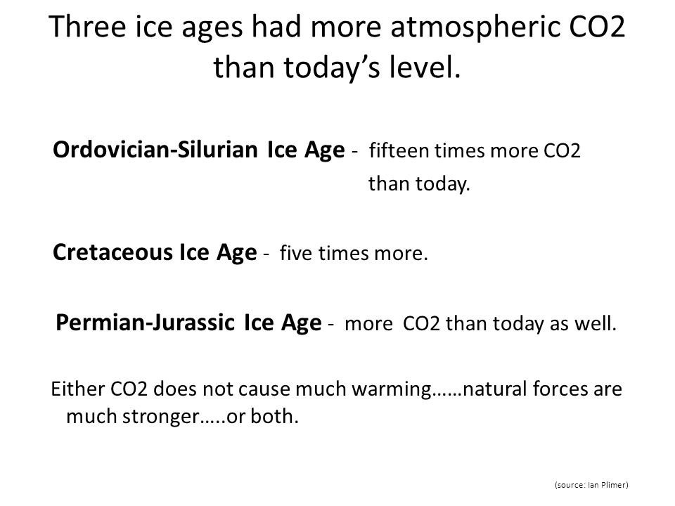 Three ice ages had more atmospheric CO2 than today's level.