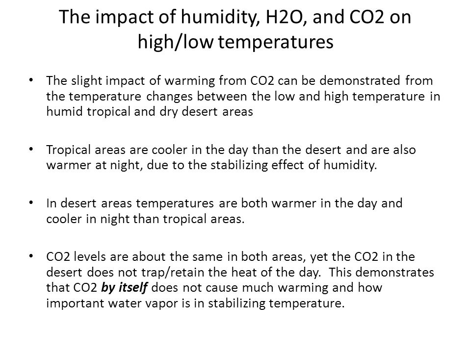 The impact of humidity, H2O, and CO2 on high/low temperatures