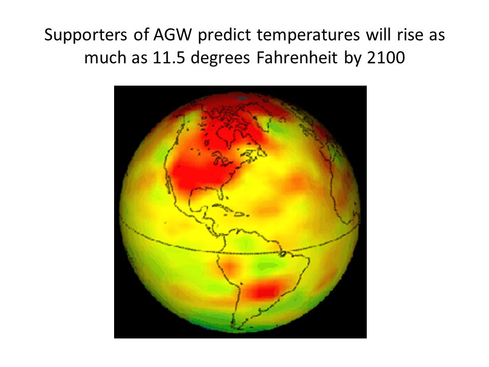 Supporters of AGW predict temperatures will rise as much as 11