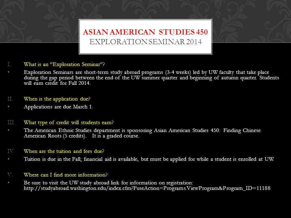 Asian american studies 450 Exploration seminar 2014