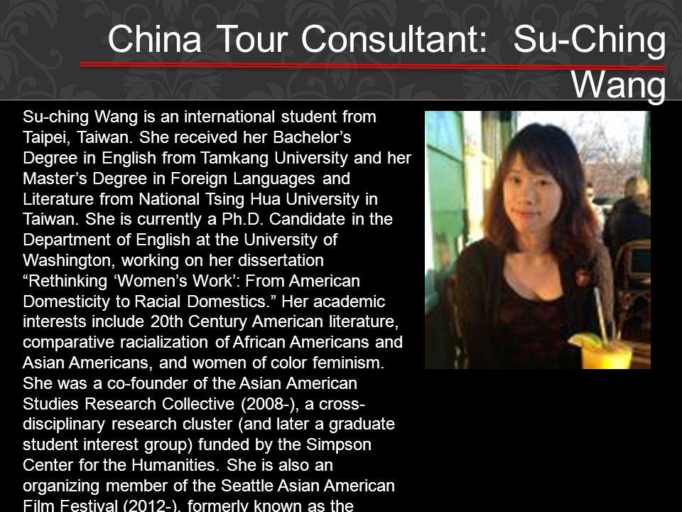 China Tour Consultant: Su-Ching Wang