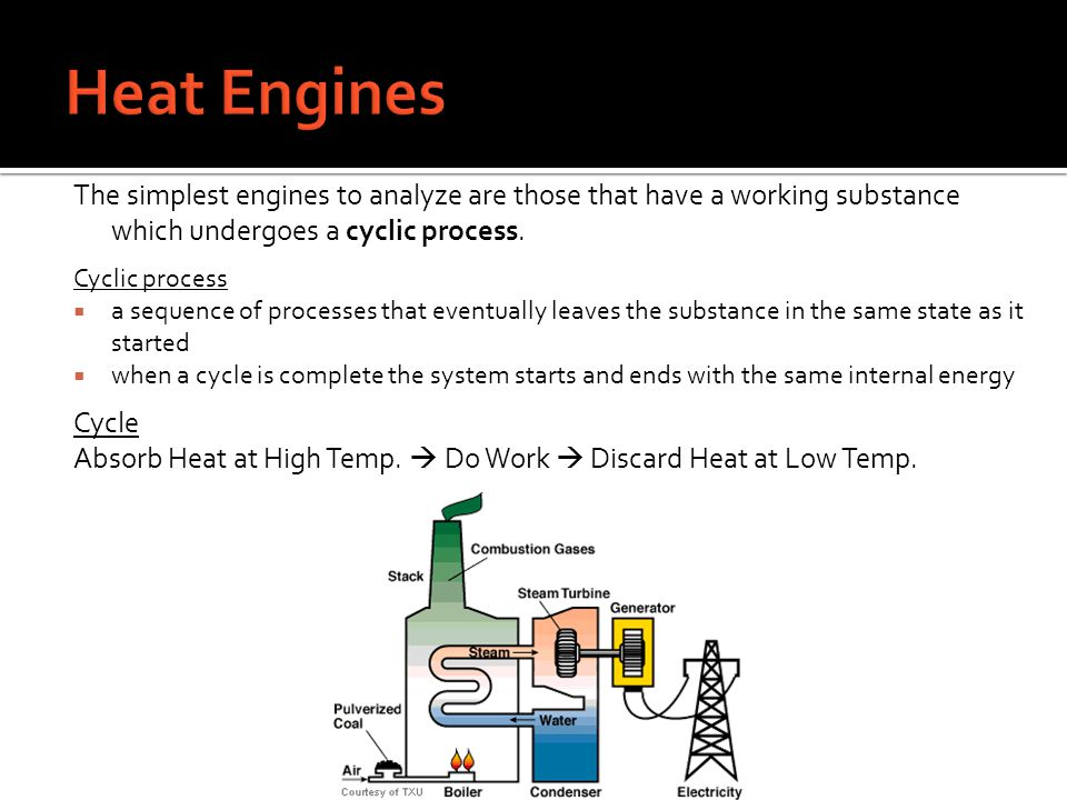 Heat Engines The simplest engines to analyze are those that have a working substance which undergoes a cyclic process.