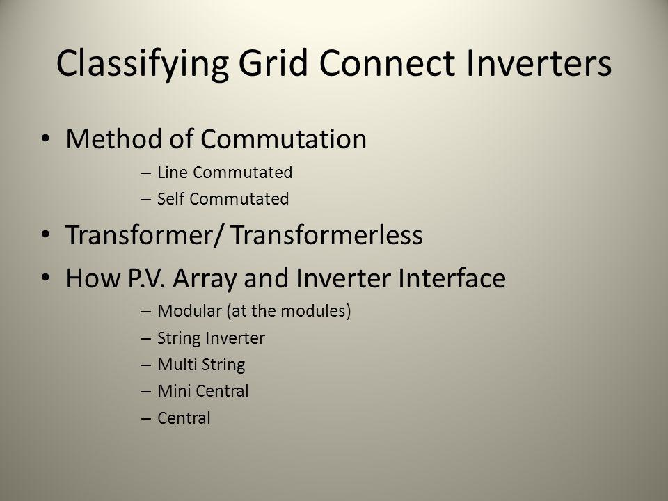 Classifying Grid Connect Inverters