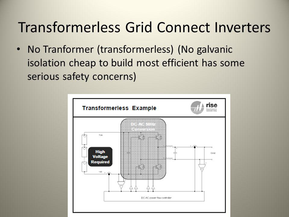 Transformerless Grid Connect Inverters
