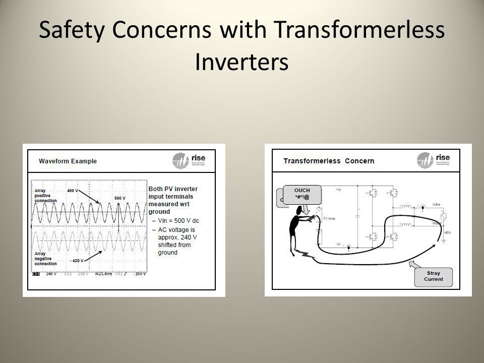 Safety Concerns with Transformerless Inverters