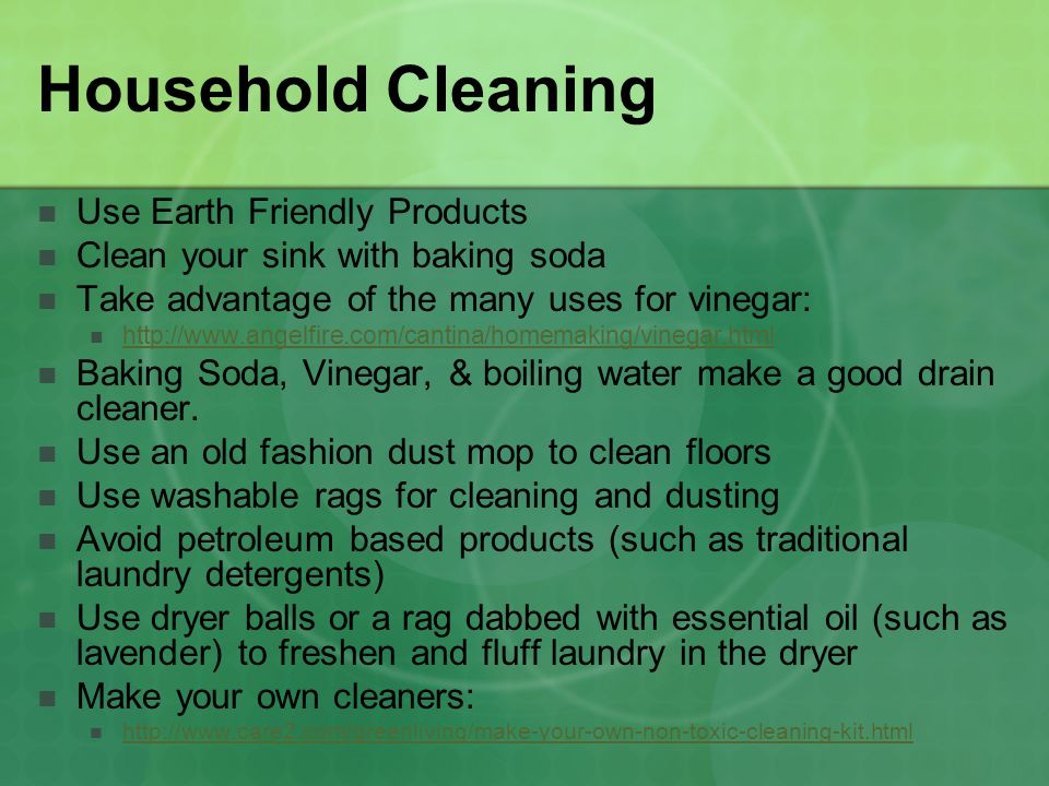 Household Cleaning Use Earth Friendly Products
