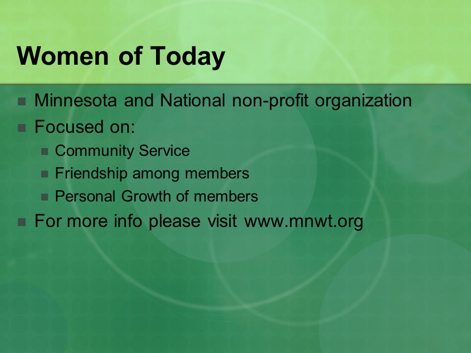 Women of Today Minnesota and National non-profit organization