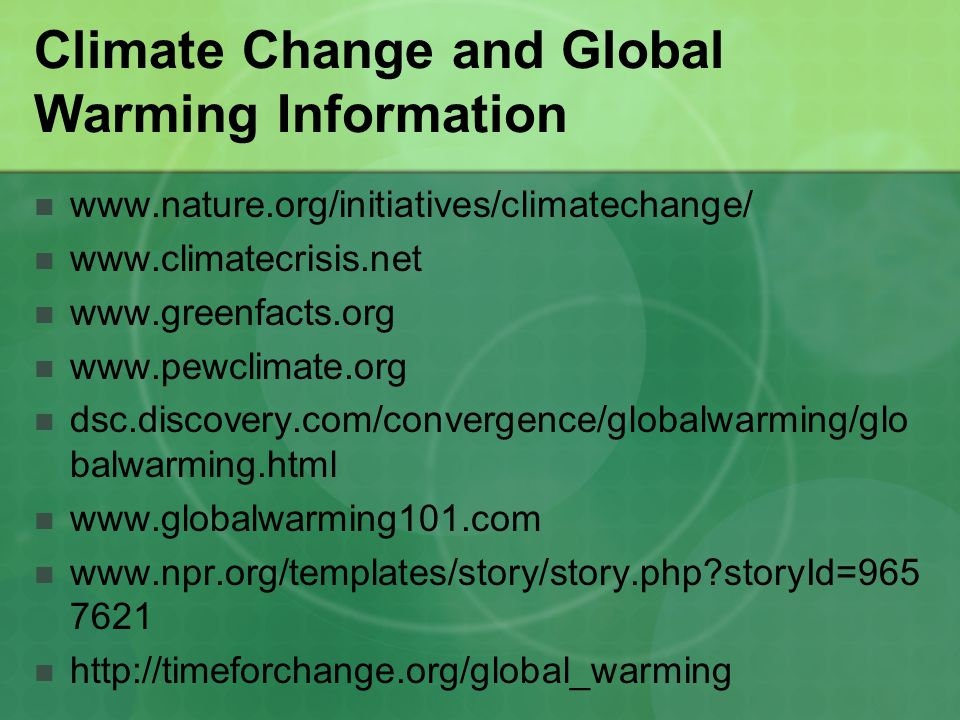 Climate Change and Global Warming Information
