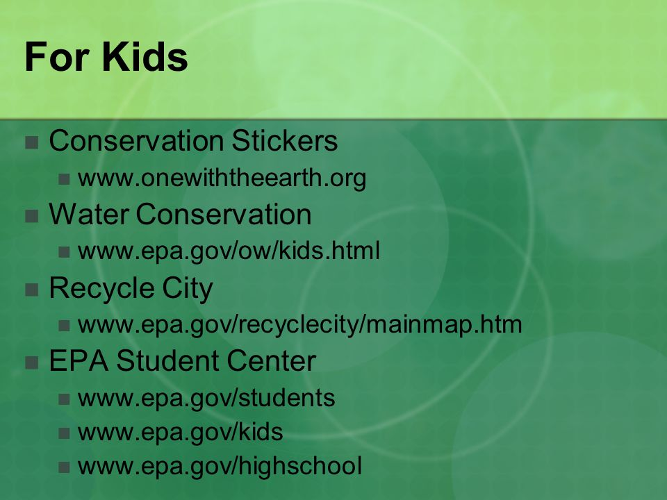 For Kids Conservation Stickers Water Conservation Recycle City