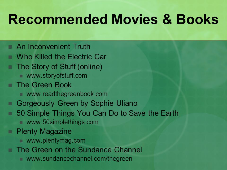 Recommended Movies & Books