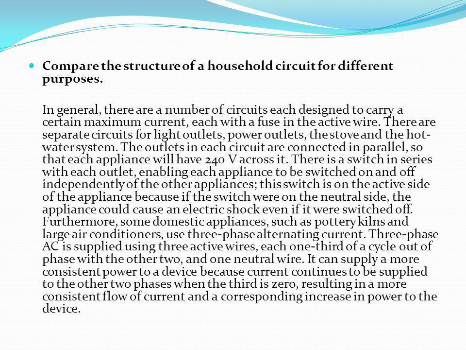 Compare the structure of a household circuit for different purposes.
