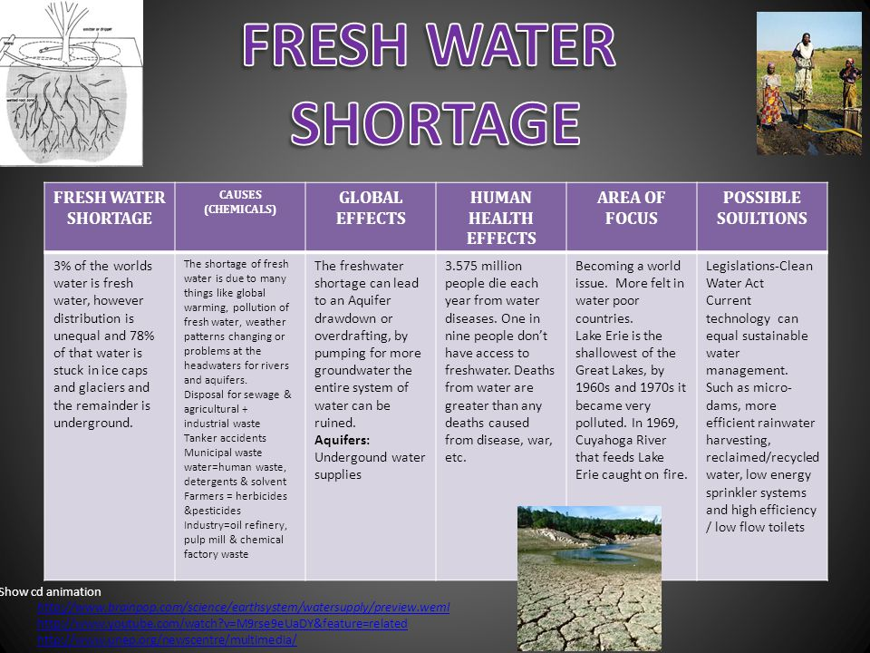 FRESH WATER SHORTAGE FRESH WATER SHORTAGE GLOBAL EFFECTS