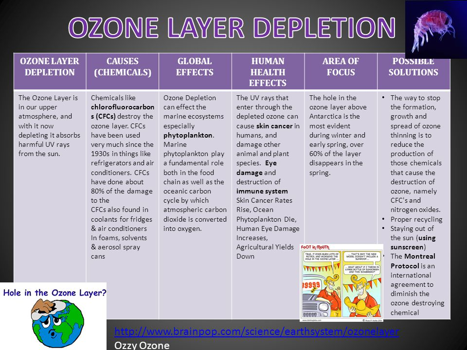 OZONE LAYER DEPLETION OZONE LAYER DEPLETION. CAUSES. (CHEMICALS) GLOBAL EFFECTS. HUMAN HEALTH EFFECTS.