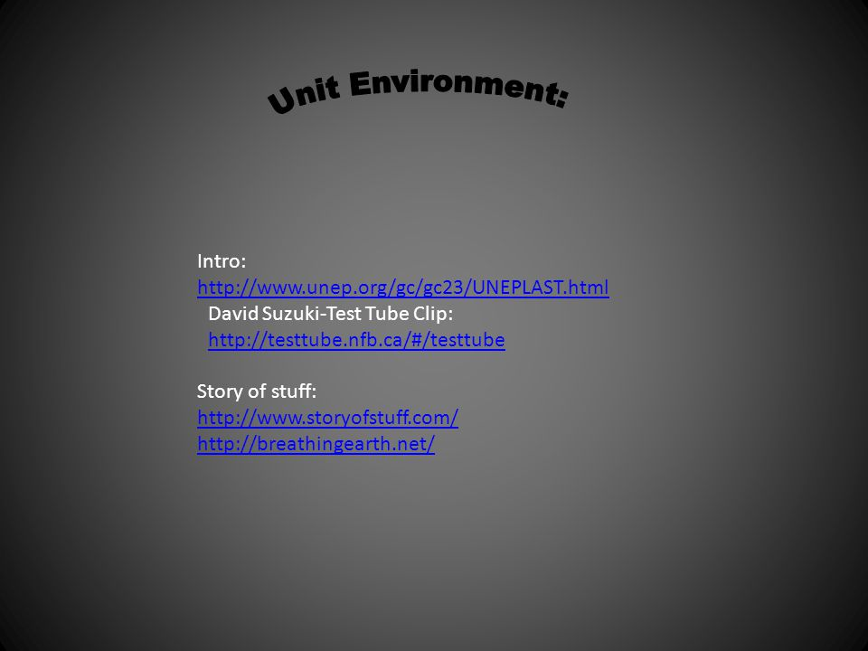 Unit Environment: Intro: http://www.unep.org/gc/gc23/UNEPLAST.html