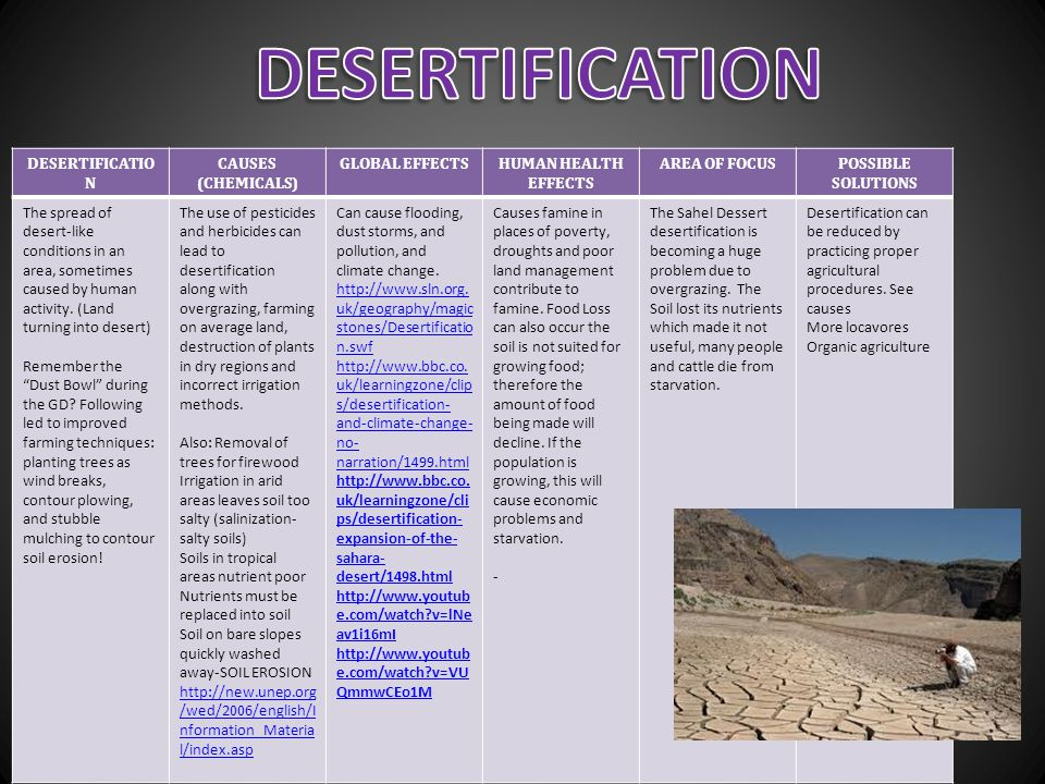 DESERTIFICATION DESERTIFICATION CAUSES (CHEMICALS) GLOBAL EFFECTS