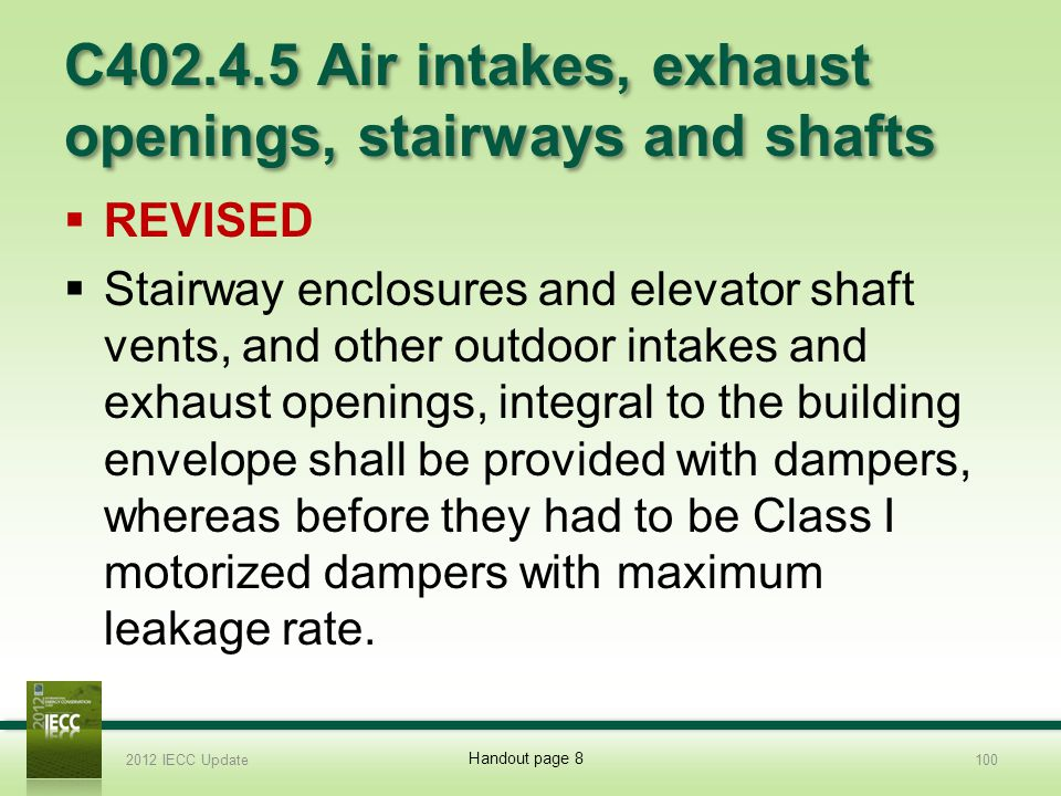 C402.4.5 Air intakes, exhaust openings, stairways and shafts