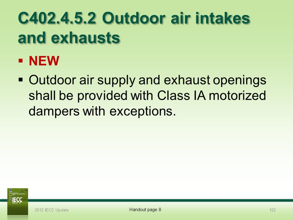 C402.4.5.2 Outdoor air intakes and exhausts