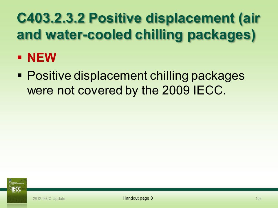 C403.2.3.2 Positive displacement (air and water-cooled chilling packages)