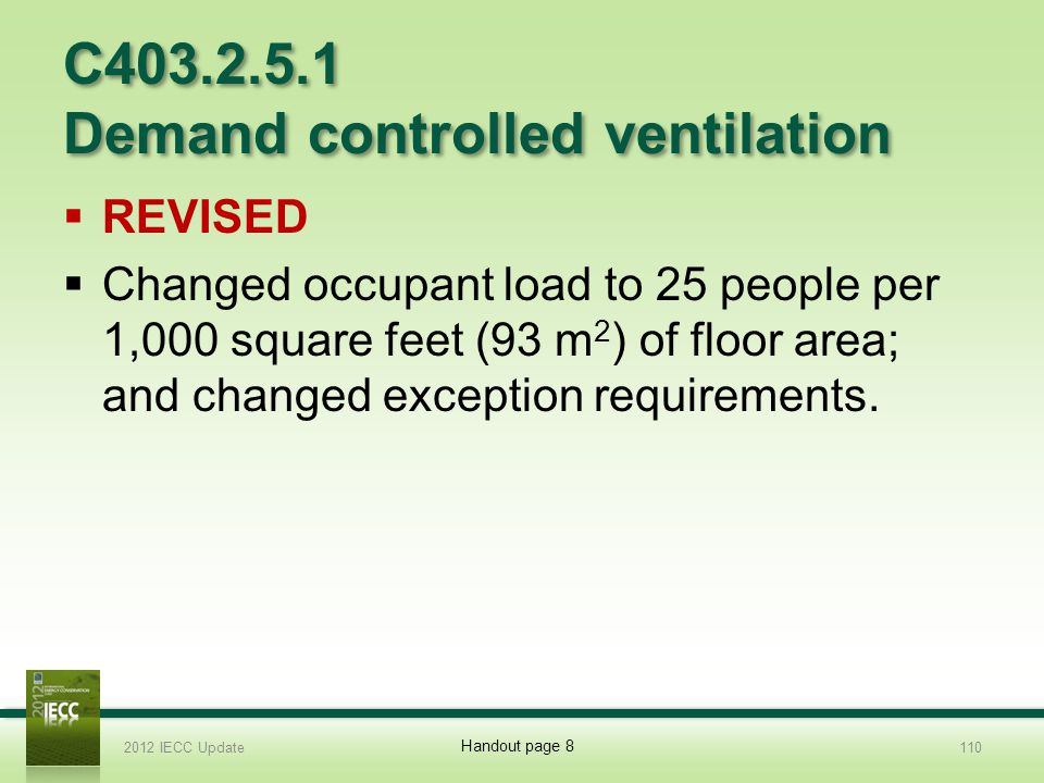 C403.2.5.1 Demand controlled ventilation