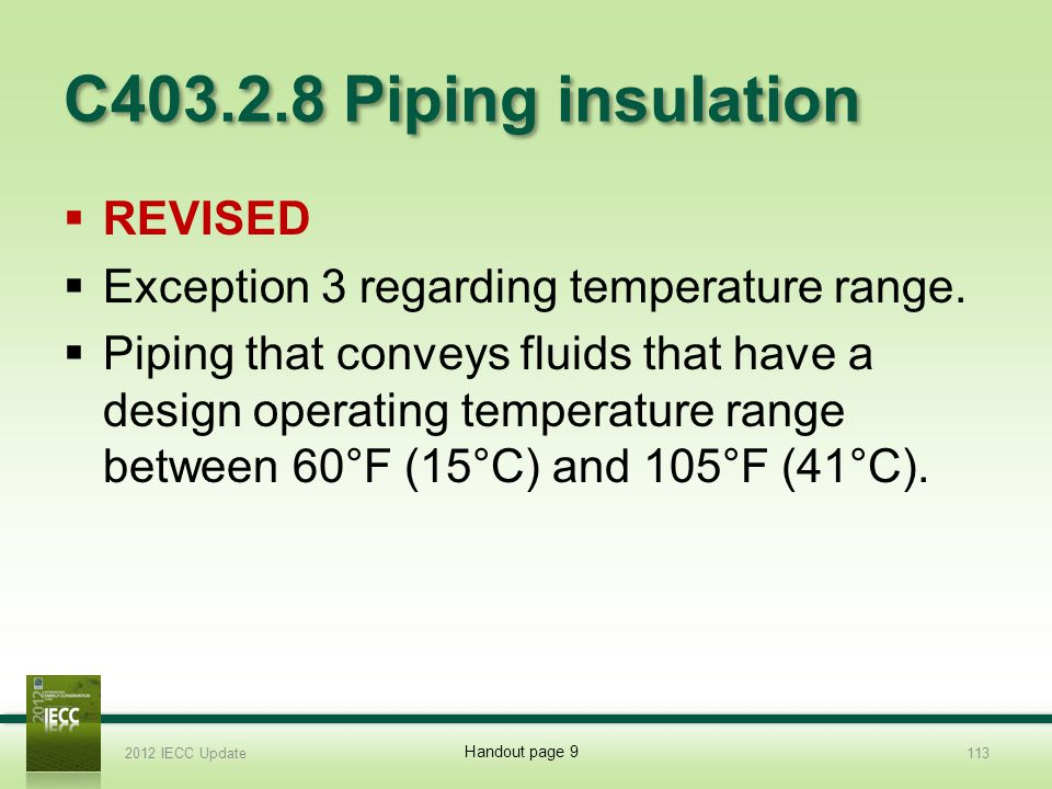 C403.2.8 Piping insulation Revised