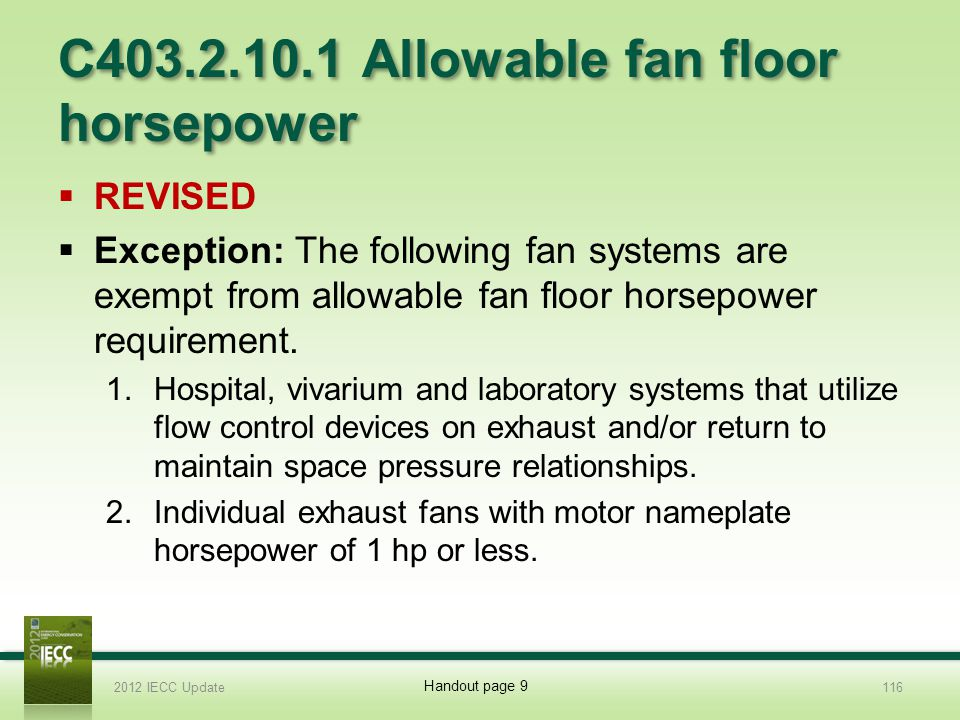 C403.2.10.1 Allowable fan floor horsepower