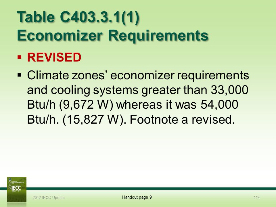 Table C403.3.1(1) Economizer Requirements