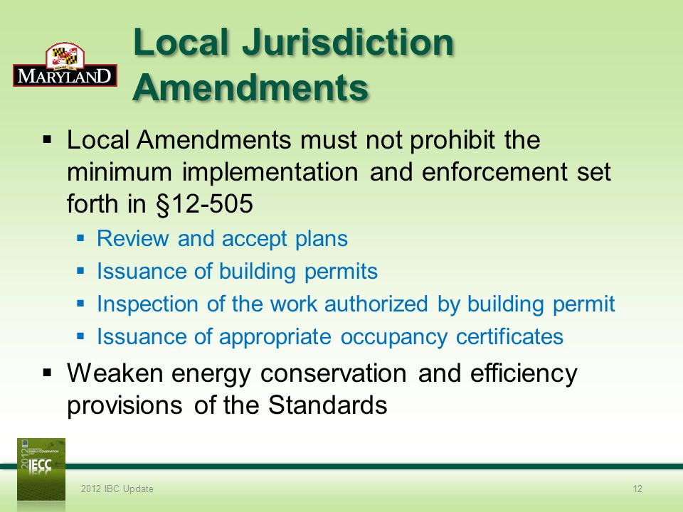 Local Jurisdiction Amendments