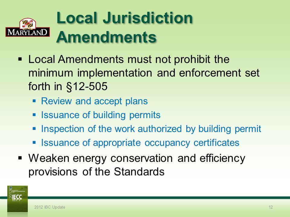 Local Jurisdiction Amendments