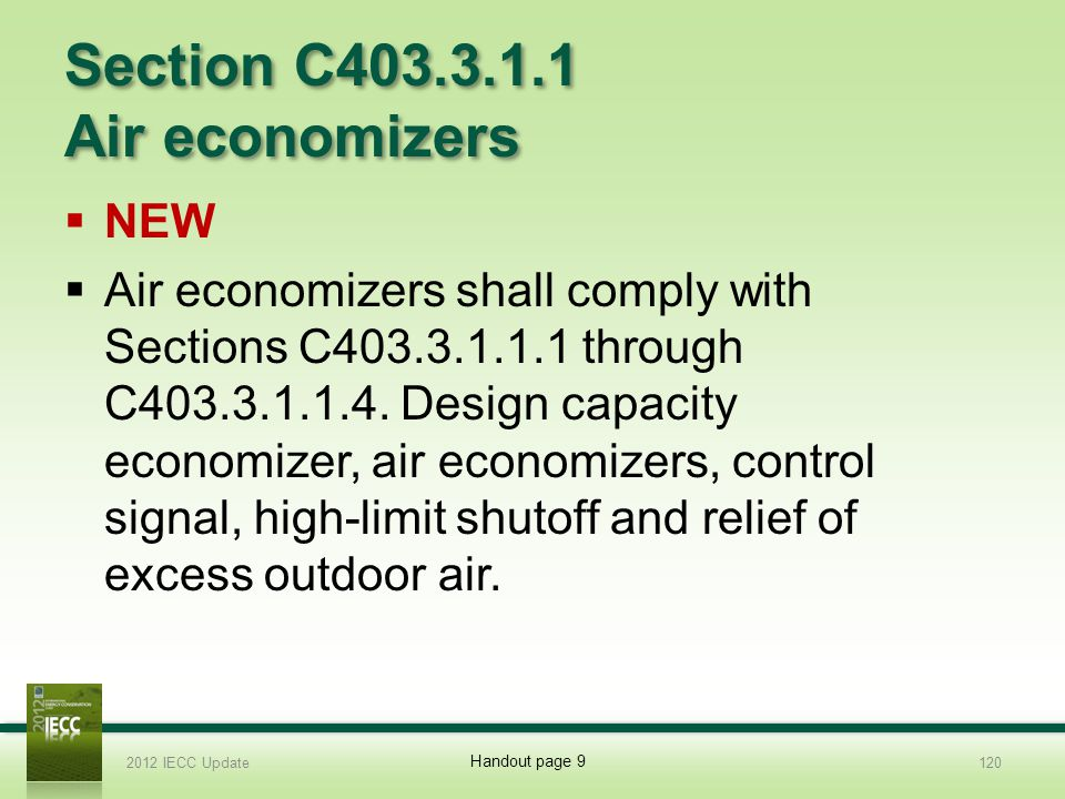 Section C403.3.1.1 Air economizers