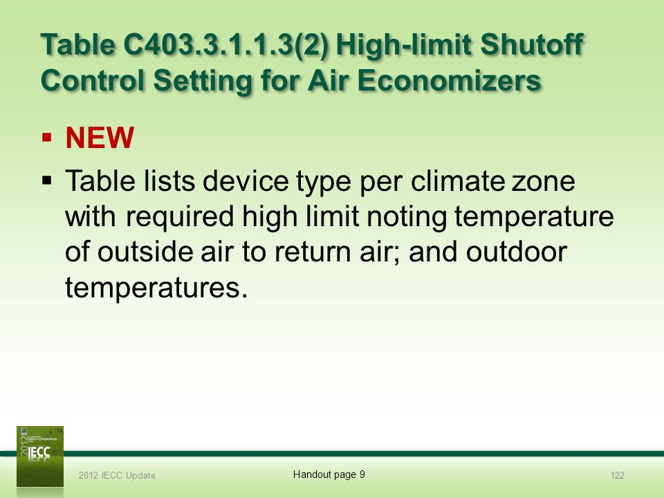Table C403.3.1.1.3(2) High-limit Shutoff Control Setting for Air Economizers