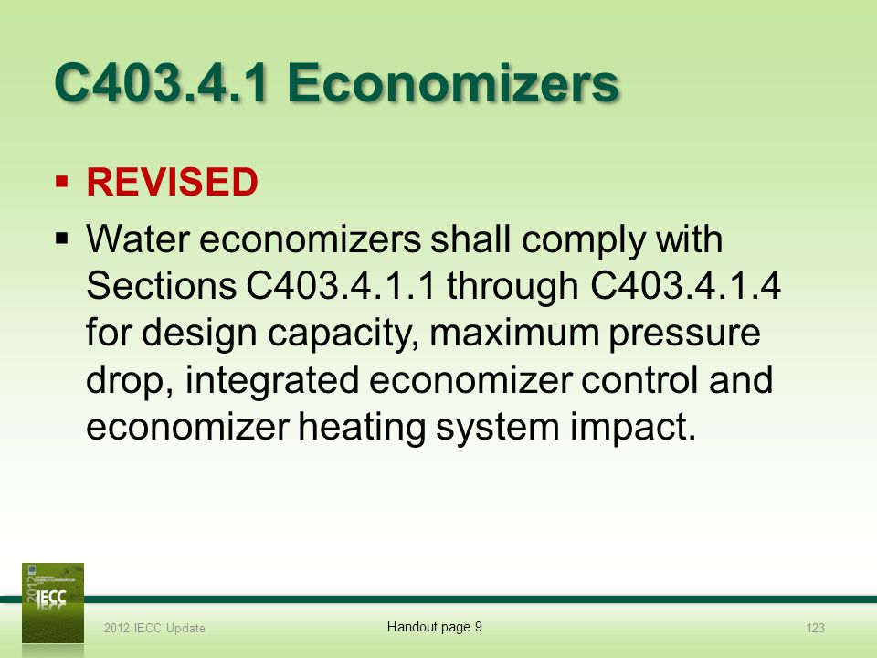 C403.4.1 Economizers Revised.