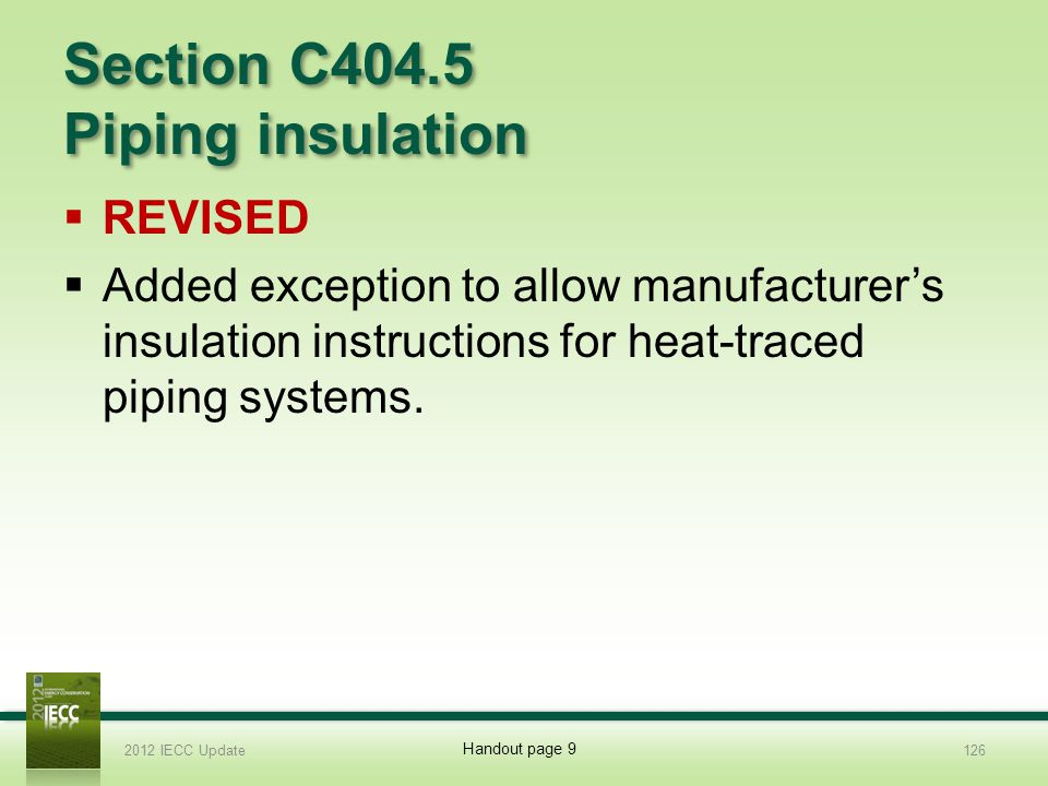 Section C404.5 Piping insulation