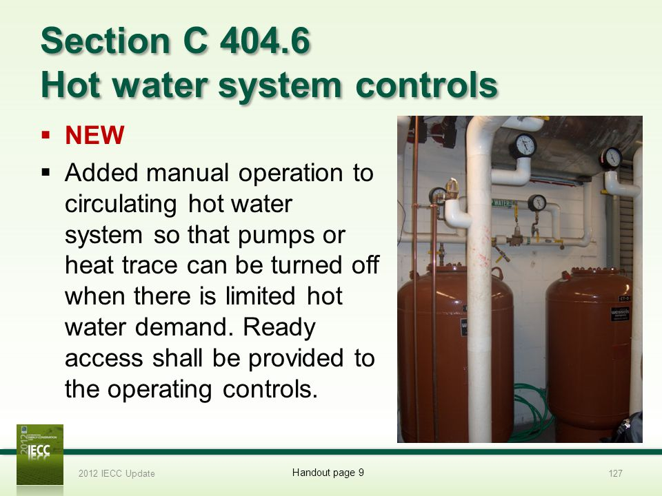 Section C 404.6 Hot water system controls