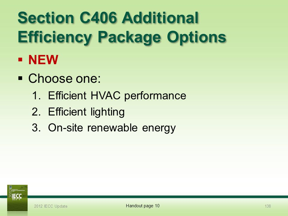 Section C406 Additional Efficiency Package Options