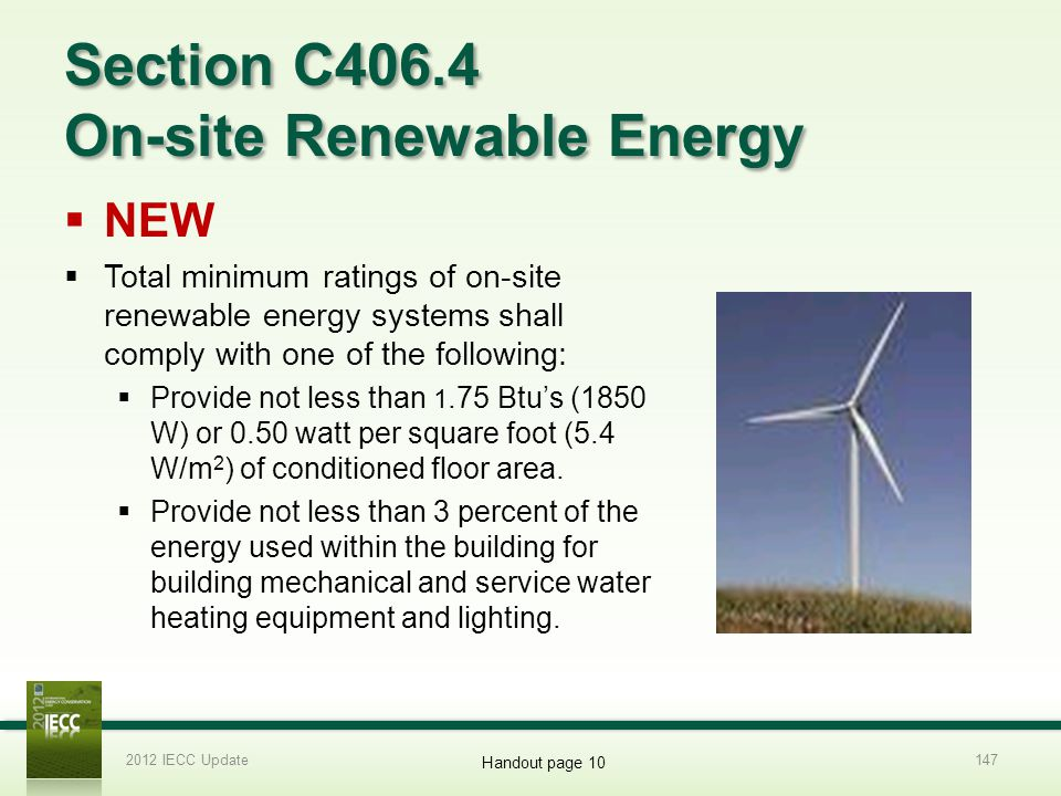 Section C406.4 On-site Renewable Energy