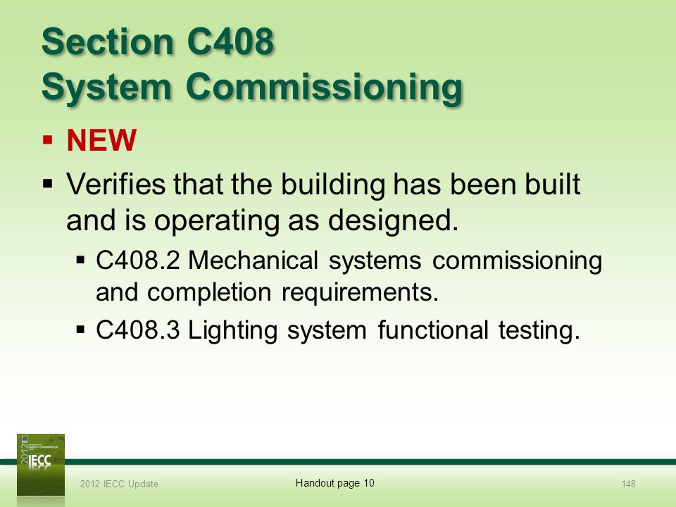 Section C408 System Commissioning