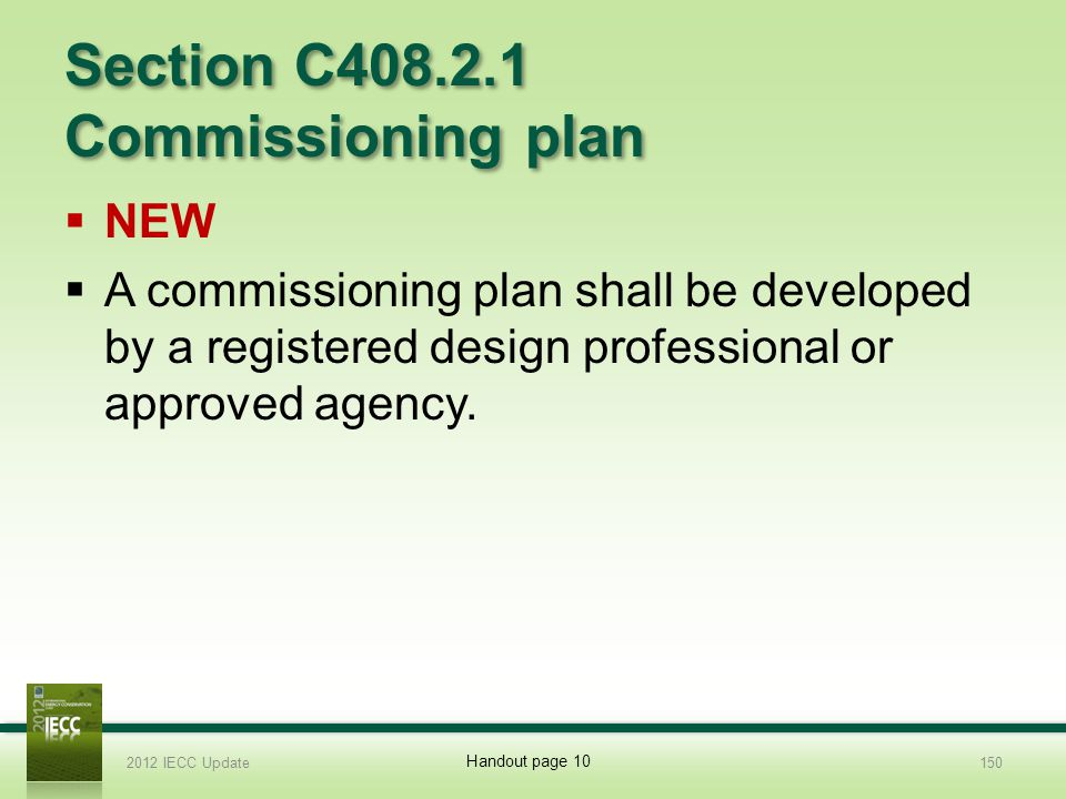 Section C408.2.1 Commissioning plan