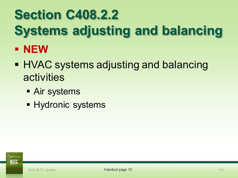 Section C408.2.2 Systems adjusting and balancing