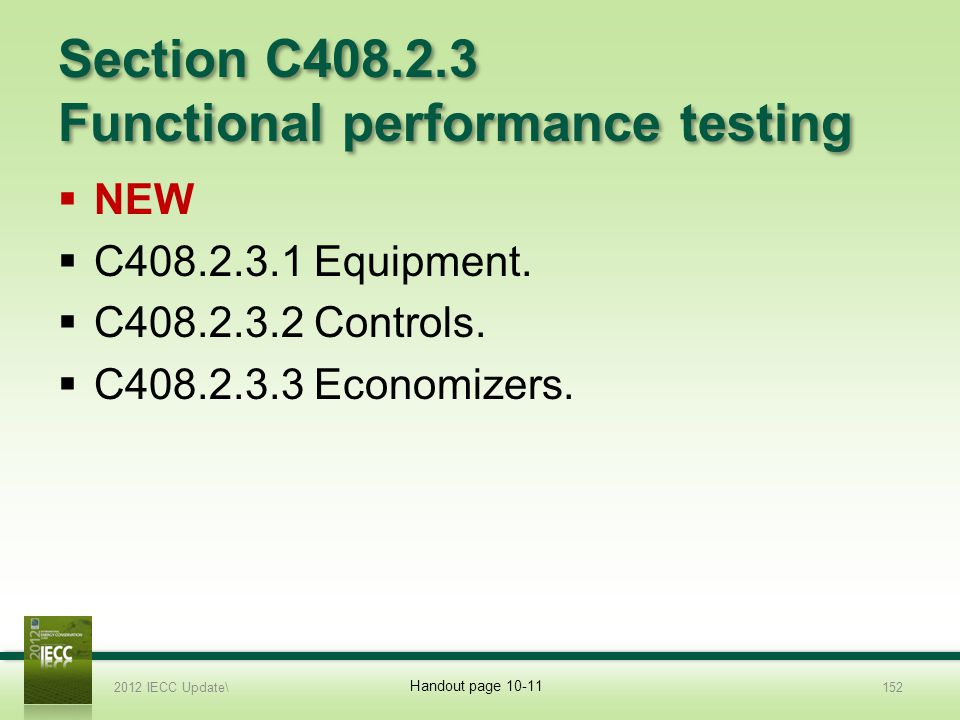 Section C408.2.3 Functional performance testing