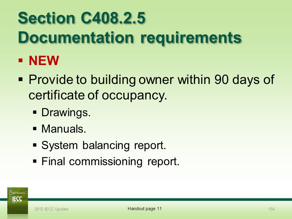 Section C408.2.5 Documentation requirements