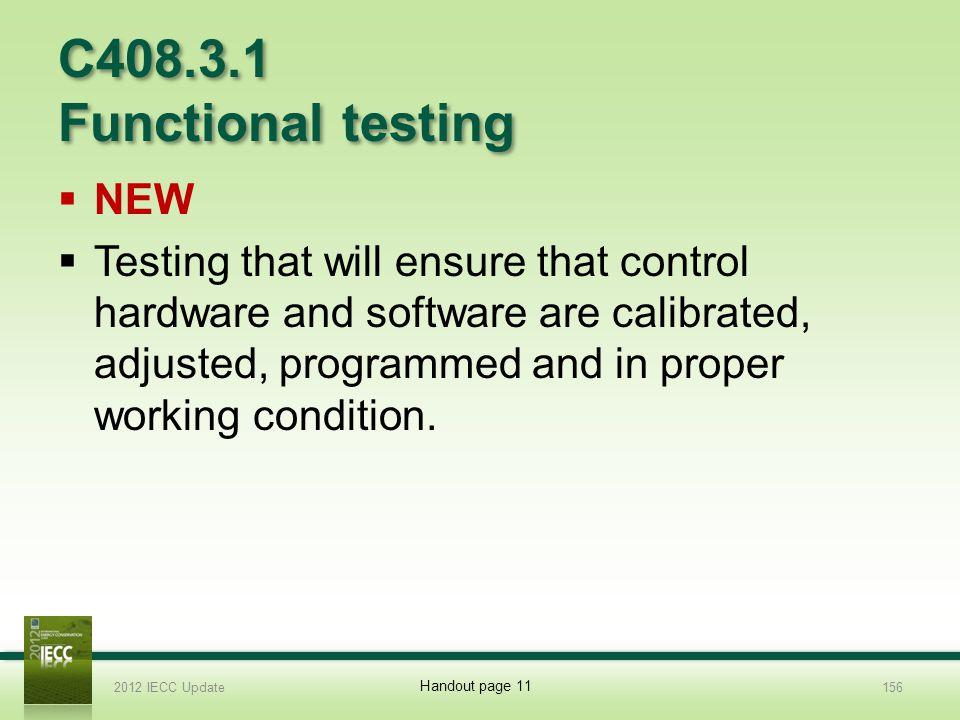 C408.3.1 Functional testing NEW