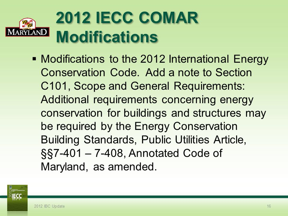 2012 IECC COMAR Modifications