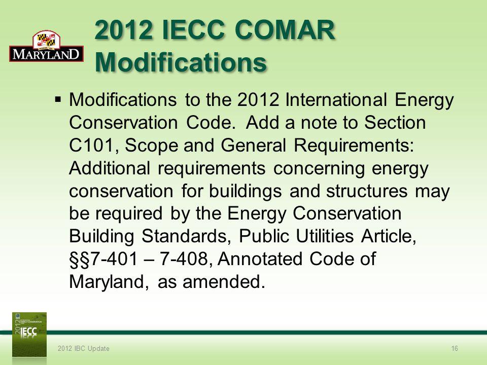2012 IECC COMAR Modifications
