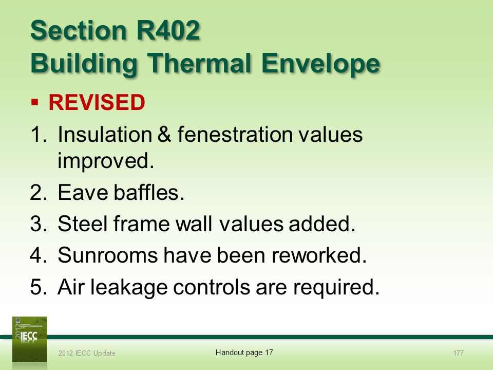 Section R402 Building Thermal Envelope