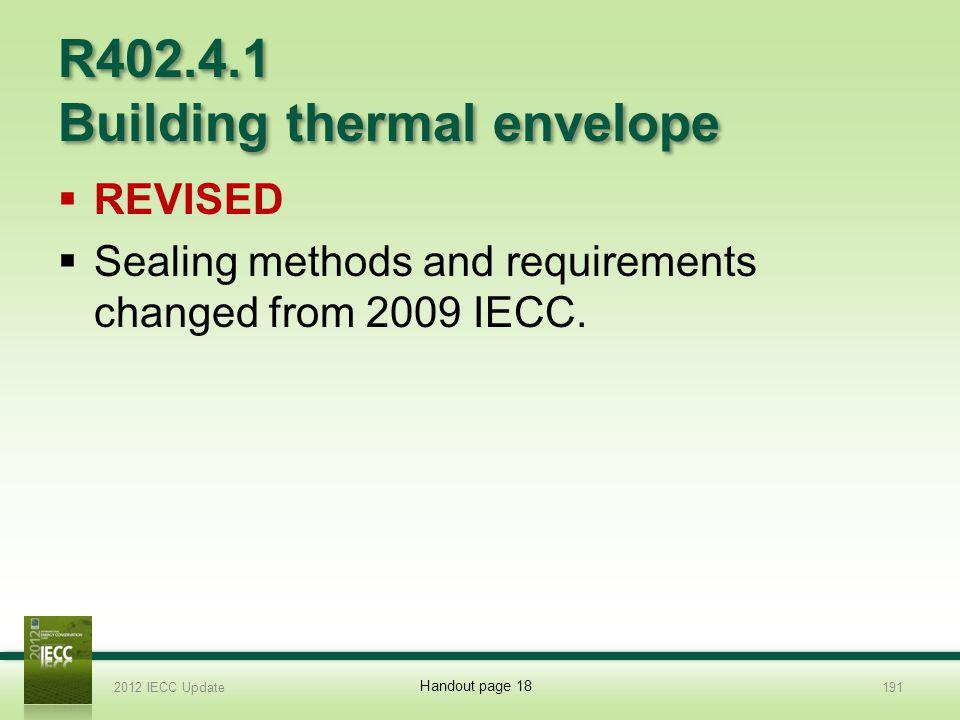 R402.4.1 Building thermal envelope
