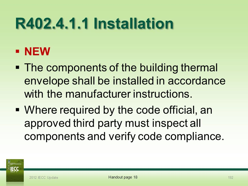 R402.4.1.1 Installation NEW. The components of the building thermal envelope shall be installed in accordance with the manufacturer instructions.