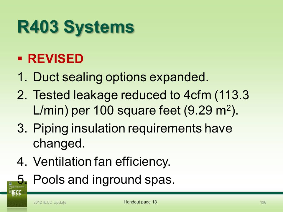 R403 Systems REVISED Duct sealing options expanded.