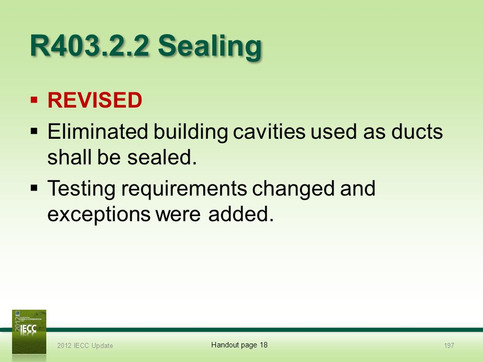 R403.2.2 Sealing REVISED. Eliminated building cavities used as ducts shall be sealed. Testing requirements changed and exceptions were added.