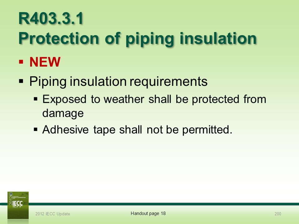 R403.3.1 Protection of piping insulation